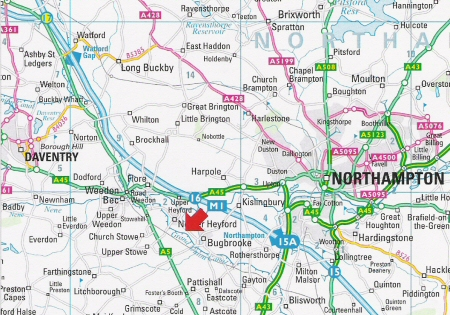 Location of Heyford Fields Marina - between Bugbrooke and Nether Heyford, Northampton